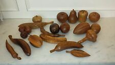 lot of 19 Vintage MONKEY POD~TEAK WOOD CARVED HAWAIIAN LEILANI LIFE SIZE FRUITS