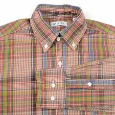 GUSTIN Multi-Color Plaid Check 100% Cotton Mens Casual Dress Shirt Rare - XS