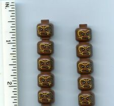 LEGO x 10 Reddish Brown Minifig, Head PotC Cannibal Yellow Face Paint Pattern