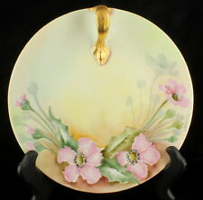 ANTIQUE T&V LIMOGES ARTIST SGND HANDLED NAPPY SERVING PLATE FLORAL PINK DOGWOOD