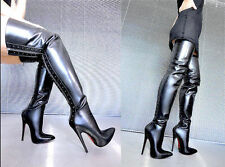 CQ COUTURE OVERKNEE HIGH HEELS BOOTS STIEFEL STIVALI LEATHER ZIP BLACK NERO 37