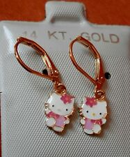14K Gold Filled PINK Hello Kitty hanging Full Body Earrings / Teen  Children USA