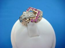 !ANTIQUE- RETRO 14K ROSE GOLD HANDMADE DIAMOND AND RUBY RING, 6.7 GRAMS, SIZE 5
