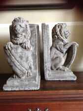 VINTAGE CEMENT LION SHIELD BOOK ENDS ART NOUVEAU STATUES 4.5 X 8 NARNIA DECOR