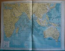 1919 LARGE MAP- INDIAN OCEAN, AFRICA,AUSTRALIA,INDIA,INDO CHINA