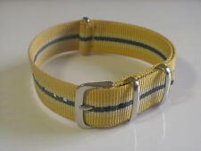 Yellow/Tan/Grey NATO G10 18mm Military strap band fits ZODIAC SEA WOLF Watch