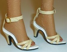 """CREAM HIGH HEEL ANKLE STRAP SHOES FOR DOLLS 72mm Fits 22"""" American Model Tonner"""