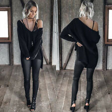 Women Ladies Off Shoulder Chunky Knit Oversize Baggy Sweater Jumper Top Pullover
