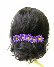 5x Purple Yellow Daisy Flower Hair Pins Chrysanthemum Floral Bridesmaid Set 1758
