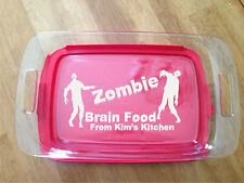 PERSONALIZED LASER ENGRAVED 7X11 PYREX DISH WITH LID ZOMBIE BRAIN FOOD KITCHEN