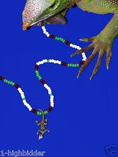 "21"" Jim Morrison Lizard King Handmade Bead Necklace Original Green White Doors"