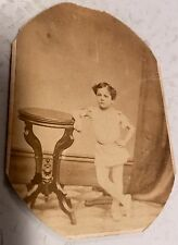 Unusual Antique Photo Boy In Ballet Dress & Shoes Late 1800's
