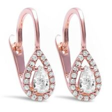 Rose Gold Plated Tear Drop Pear Shape Cz .925 Sterling Silver Earrings