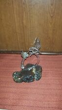 Glass Handcrafted Hummingbird with Stand - 8""