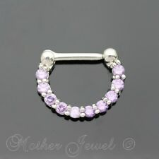 PURPLE CZ SILVER SURGICAL STEEL SEPTUM LIP NOSE HINGED HOOP CLICKER EARRING