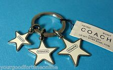 NWT RARE Coach 3 Star Multi Mix Key Chain Ring Fob Enamel Silver White F 7320