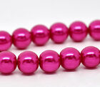 1  32inch STRAND FUCHSIA PEARL ~10mm~ ROUND GLASS BEADS~Bracelets~Necklace (6C)