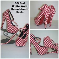 Womens Sexy Red & White Houndstooth Wool Wrapped Ankle Stiletto High Heels 5.5