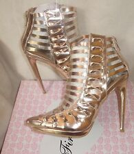 Firts Love By Penny Loves Kenny whisper Rose Gold cage sandals Size 8 new