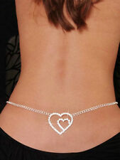 Belly Chain Silver Crystal Rhinestone Double Heart Lower Back Jewelry Dancer Hot