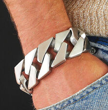 303g Wide BIG BRUSHED Men Stainless Steel Heavy Weight Wide Bracelet statment 2