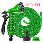 50FT/100FT/150FT EXPANDABLE FLEXIBLE GARDEN HOSE PIPE 3x EXPANDING & SPRAY GUN