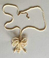 """Vintage Cream & Gold Bow Bead Beaded Necklace Rare Unusual 31"""" Length Unique"""