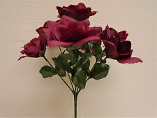 "6 Bushes BURGUNDY Small Open Rose 7 Artificial Silk Flower 12"" Bouquet 2026BU"