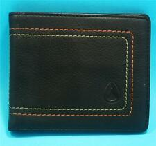 NIXON MENS Boys Card WALLET BROWN REAL LEATHER Bi Fold BRAND NEW