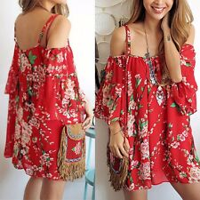 Sexy Women's Summer Casual Floral Evening Party Cocktail Beach Short Mini Dress