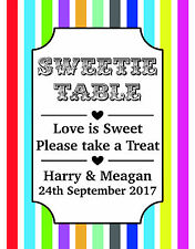 Personalised & Colourful! Sweet Candy Buffet Sweetie Bar Photo Table Sign