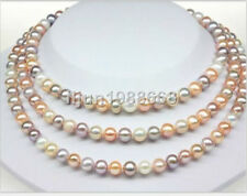 """Exquisite 7-8MM multicolor round Akoya Pearl Necklace 50"""""""