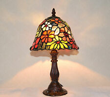 "8""W Butterfly Flowers Stained Glass Tiffany Style Table Desk Lamp, Zinc Base!"