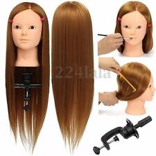 "24"" Hairdressing Human Hair Practice & Makeup Head Training Mannequin + Clamp"