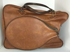 Vintage Brown Tennis Racquet Bag Holder Gym Handbag Faux Leather Made in Mexico