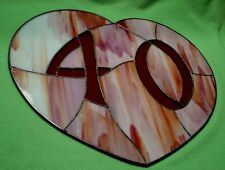 Vintage handcrafted heart shaped STAINED GLASS house number '40'  in orange-reds