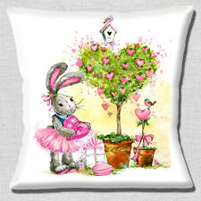 "CUTE DRESSED RABBIT CARTOON BIRDS HEARTS WHITE PINK 16"" Pillow Cushion Cover"
