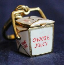 JUICY COUTURE CHINESE FOOD TAKE OUT BOX CHARM GOLD TONE FORTUNE COOKIE