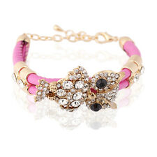 Pink PU Leather & Gold Owl Rhinestones Charm Wrap Bracelet Bangle BB84
