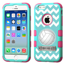 For Apple iPhone 6 (4.7-inch) Kick Stand Case (Teal/Pink) -Chevron/Volleyball
