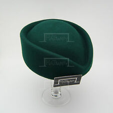 VINTAGE Wool Felt Ladies Pillbox Hat Women ELEGANT Party Fascinator | Green