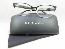 Versace MOD 1222 1342 Semi-Rimless Black New Authentic Eyeglasses 53/17/140 Case