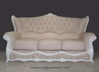 Italian leather Sofa Christina Suite with Crystal in pkp wood