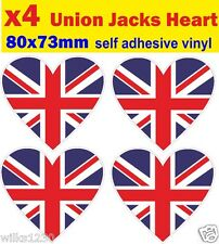 8 Heart union jack decals stickers self adhesive vinyl jdm Euro Drift vw car van
