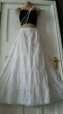 Cotton&Lace WHITE Embroidered Gypsy Boho Festival  5 tier Skirt Free Size14-22