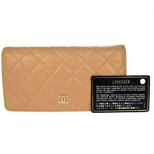 Authentic CHANEL CC Quilted Long Bifold Wallet Purse Leather Beige Italy 65G576