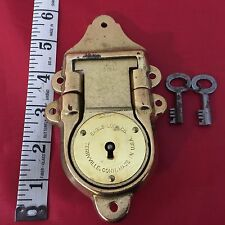 OLD EAGLE LOCK CO. LARGE BRASS CHEST TRUNK LOCK 2 KEYS WORKS