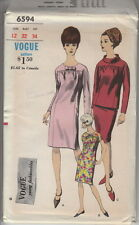 Vintage 60s Mod Uncut Slim Smock Dress & Overblouse Pattern 12~Vogue 6594