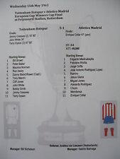 1962-63 Cup Winners Cup Final Tottenham Hotspur v Atletico Madrid Matchsheet