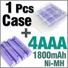 1 x Plastic Holder Box Case + 4 AAA Ni-MH 1800mAh rechargeable battery Purple